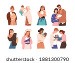set of cute women and families... | Shutterstock .eps vector #1881300790