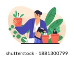boss cultivate potted plant... | Shutterstock .eps vector #1881300799