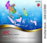 AEC or ASEAN economic community  colorful map and nation flag location balloon with modern metallic text background