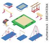 gymnastics equipment icons set. ... | Shutterstock .eps vector #1881343366