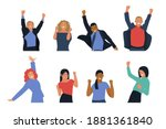 happy business employee people... | Shutterstock .eps vector #1881361840