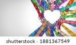 Small photo of United diversity and unity partnership as heart hands in a group of diverse people connected together shaped as a support symbol expressing the feeling of teamwork and togetherness.