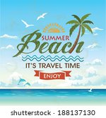 summer beach vector background... | Shutterstock .eps vector #188137130