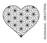 heart shape in japanese style....   Shutterstock .eps vector #1881373036