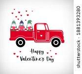 pickup truck with valentine...   Shutterstock .eps vector #1881393280