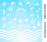 happy summer holiday sea icons | Shutterstock .eps vector #188141408