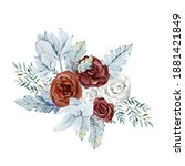 watercolor winter floral... | Shutterstock . vector #1881421849