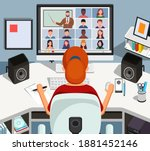girl watching lesson online and ...   Shutterstock . vector #1881452146