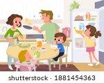 vector. family having breakfast ... | Shutterstock .eps vector #1881454363