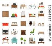furniture icons flat design  ... | Shutterstock .eps vector #188149373