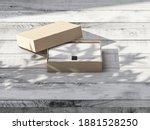 brown cardboard gift box mockup ...   Shutterstock . vector #1881528250