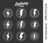 set of vintage lightning bolts... | Shutterstock .eps vector #1881555226