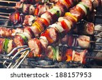 grilled skewers of meat and... | Shutterstock . vector #188157953
