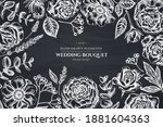 floral design with chalk roses  ... | Shutterstock .eps vector #1881604363