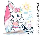 cute sport rabbit girl standing ... | Shutterstock .eps vector #1881607849