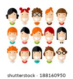 Happy smiling beautiful young girls character with various hair style, flat design, vector illustration