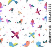 seamless pattern with singing... | Shutterstock .eps vector #1881665386