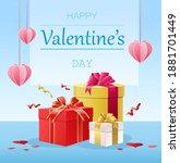 happy valentine s day postcard...   Shutterstock .eps vector #1881701449