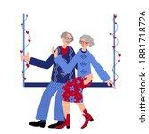 seniors couple is swinging on... | Shutterstock .eps vector #1881718726