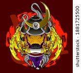 samurai bull illustration... | Shutterstock .eps vector #1881725500