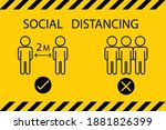 social distancing. keep the 1 2 ... | Shutterstock .eps vector #1881826399
