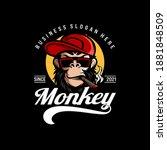 monkey mascot logo vector.... | Shutterstock .eps vector #1881848509
