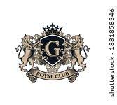 luxury golden royal lion king... | Shutterstock .eps vector #1881858346
