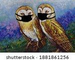 Art  Oil Paintings Of Cute Owl  ...
