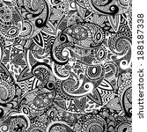 vector seamless paisley doodle... | Shutterstock .eps vector #188187338