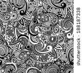 vector seamless paisley doodle... | Shutterstock .eps vector #188187338