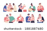 collection of happy people... | Shutterstock .eps vector #1881887680