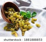 Green Dried Raisins On A Fabric ...