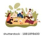 group of happy friends relaxing ... | Shutterstock .eps vector #1881898600