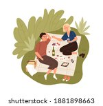 happy couple on date outdoors.... | Shutterstock .eps vector #1881898663