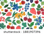 hand drawn berry branches... | Shutterstock .eps vector #1881907396