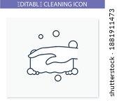 sponge foaming line icon....   Shutterstock .eps vector #1881911473