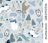 childish seamless nordic... | Shutterstock .eps vector #1881953536