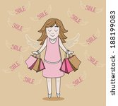 girl with sale bags | Shutterstock .eps vector #188199083
