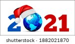 globe in a hat of santa claus ... | Shutterstock .eps vector #1882021870