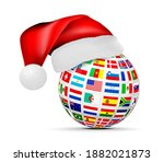 a sphere of national flags in a ... | Shutterstock .eps vector #1882021873