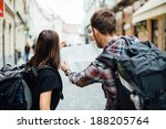 couple of backpackers looking... | Shutterstock . vector #188205764