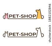 pet shop logo linear  dog and... | Shutterstock .eps vector #1882102846