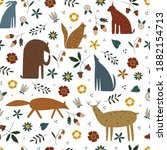 seamless pattern with cute wild ...   Shutterstock .eps vector #1882154713