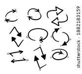 hand drawn double reverse arrow ...   Shutterstock .eps vector #1882183159
