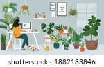 woman working on laptop at home ... | Shutterstock .eps vector #1882183846