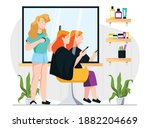 hairdresser with client.... | Shutterstock .eps vector #1882204669
