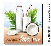coconut milk natural drink...   Shutterstock .eps vector #1882243996