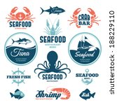 vector set of seafood labels... | Shutterstock .eps vector #188229110