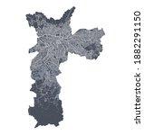 sao paulo map. detailed vector... | Shutterstock .eps vector #1882291150