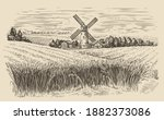 Windmill In A Rural Landscape....